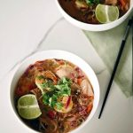 Thai noodle soup with shrimps and mushrooms