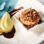 Iced praline and Amaretto souffle with poached pear